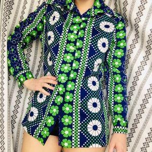Tops - 70s Floral Button Down